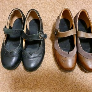 """Girls Leather 2 pairs Shoes """"Ziera"""" Sz 35"""